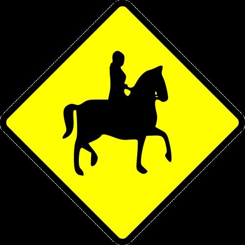 sign caution equestrian