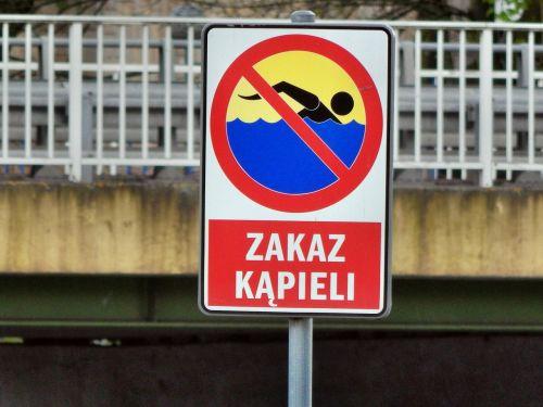 sign bathing prohibition warning