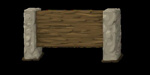 sign wooden pillar