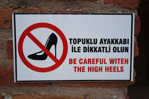 sign high heel footwear