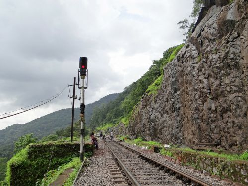 signal post railroad railway track