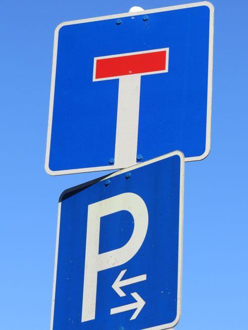 signs dead end parking