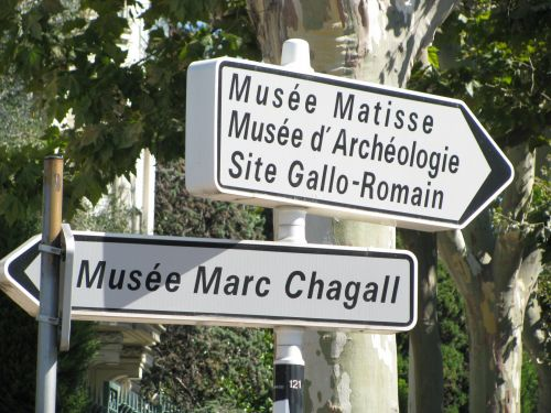 Signs To Museums, Nice, France