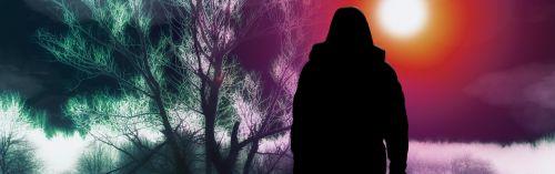 silhouette woman tree