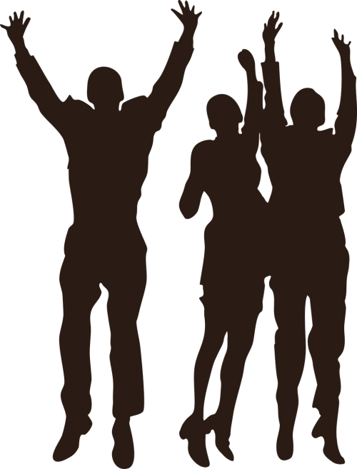 silhouette team jumping