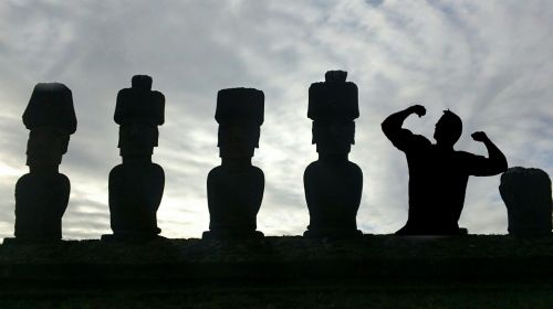 silhouette easter island body builder
