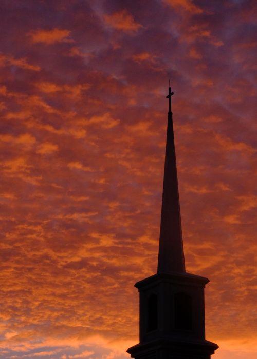 silhouette church steeple church