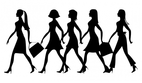 silhouette women work