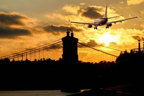 silhouette  aircraft  landing