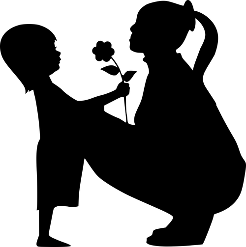 silhouette  adoption  diverse family