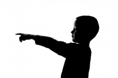Silhouette Boy Pointing Finger