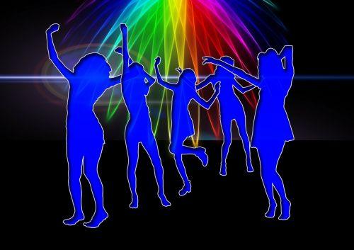 silhouettes girl dance