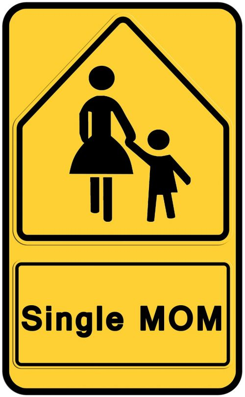 silhouettes road sign mother
