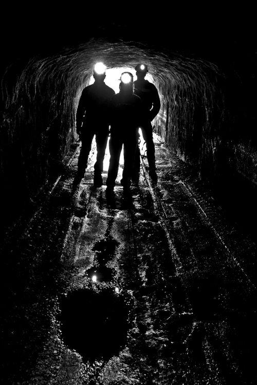 silhouettes coal mine entrance