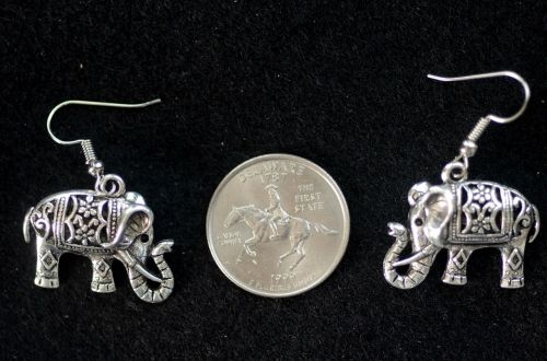 silver filigree elephants