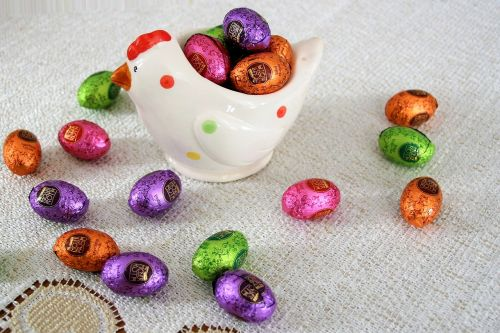 silver chocolates eggs