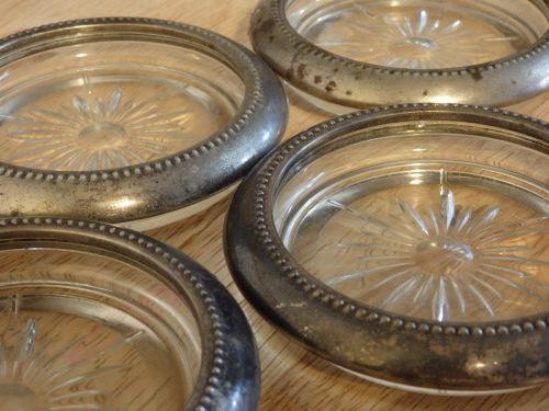 silver glass coasters