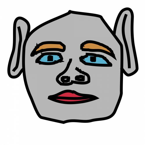 doodle, sidabras, veidas, izoliuotas, balta, fonas, karikatūra, animacinis filmas, paprastas, piktograma, avatar, sidabrinis veidas