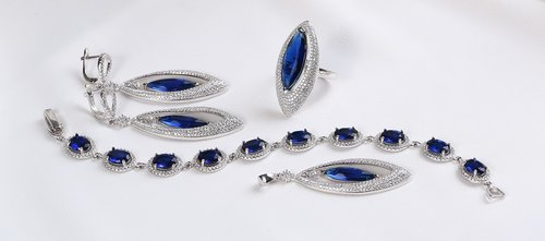 silver jewelry set  silver earring  blue gemstone