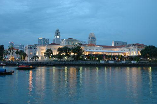 Singapūras,miesto panorama,marina,panorama,kranto,miesto,Singapūras panorama,asija,asian,atspindys,dusk,aušra,panorama,turizmas,metropolis,didmiestis,miestas,jūra,vanduo