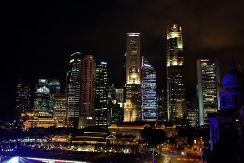 Singapore Skyline Night View