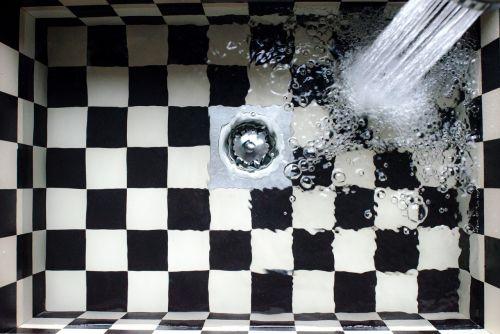 sink kitchen checkered