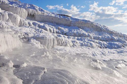 sinter terraces winter pamukkale