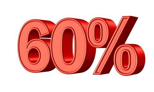 sixty 60 percent
