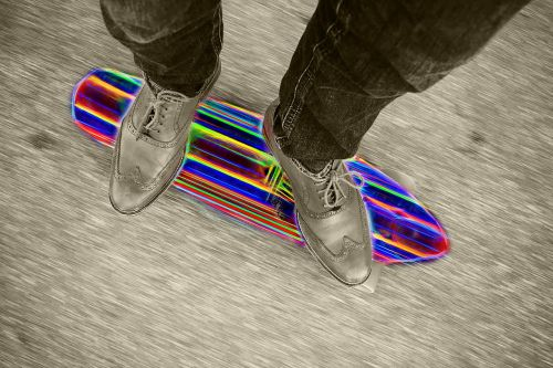 skateboard colorful glow