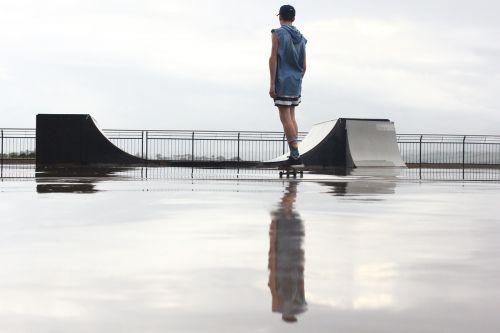 skateboarding ramp wet