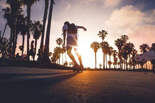 skateboarding sunset outdoor