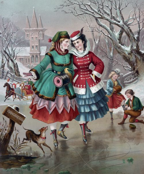 Skating On Frozen Pond Painting