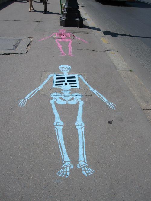 skeleton sewer chalk