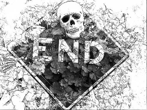 Skeleton End Sign - Sketched