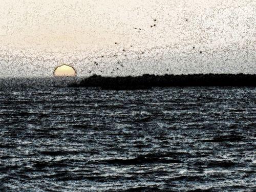 Sketch Effect Of Sun Setting