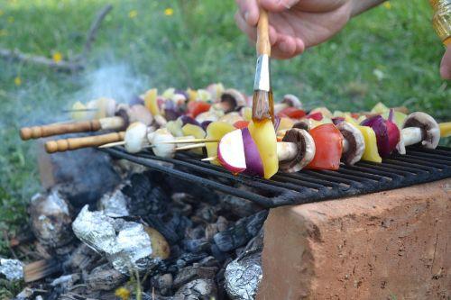 skewers grill food