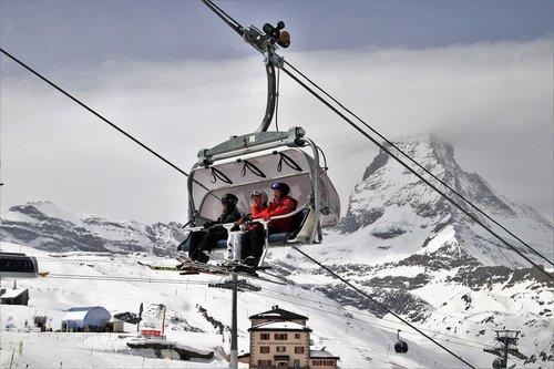 ski  matterhorn  the alps
