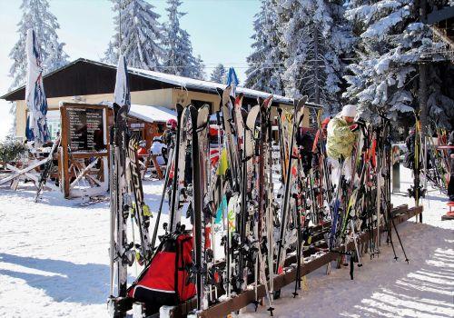 ski areal ski stand with skis