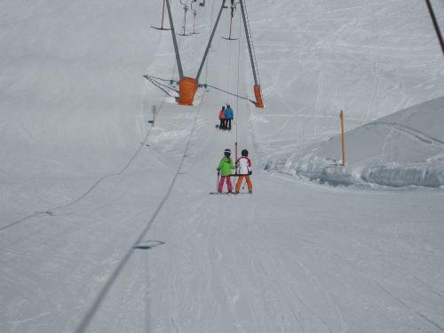 ski lift children snow
