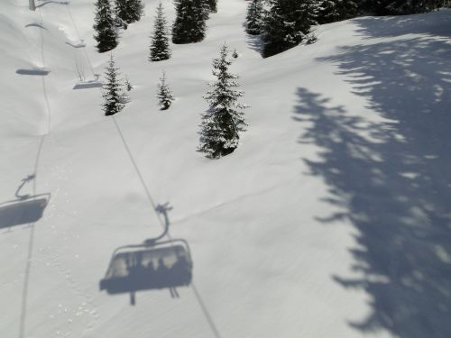 ski lift shadow chairlift