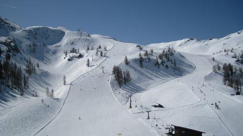 ski run winter sports mountains