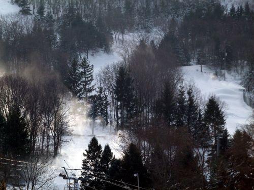 ski slope snow trees