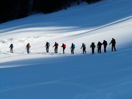 backcountry skiiing winter hike hike