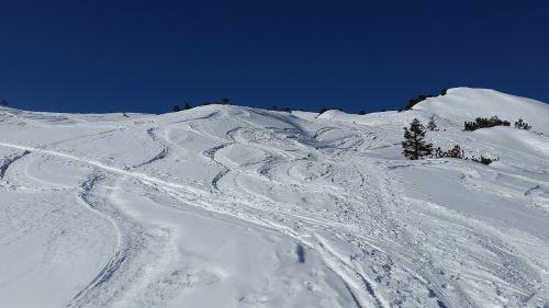 ski track traces snow