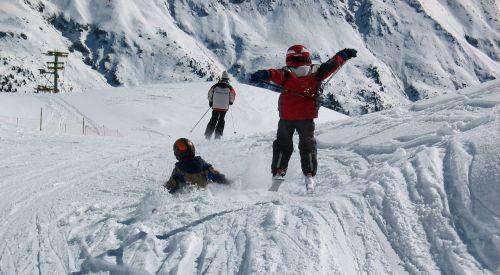 skiers winter children