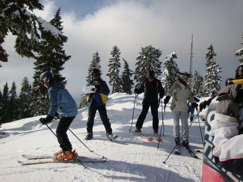 skiers skiing winter