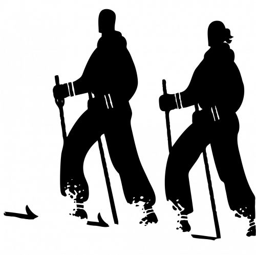 Skiers Black Silhouette Clipart