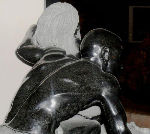 statula, juoda & nbsp, balta, akmuo, blizgantis, lygus, raumeningas, anatominė & nbsp, grožis, Du & nbsp, vyriški & nbsp, skaičiai, senas & nbsp, jaunas, meistriškai iškirpta