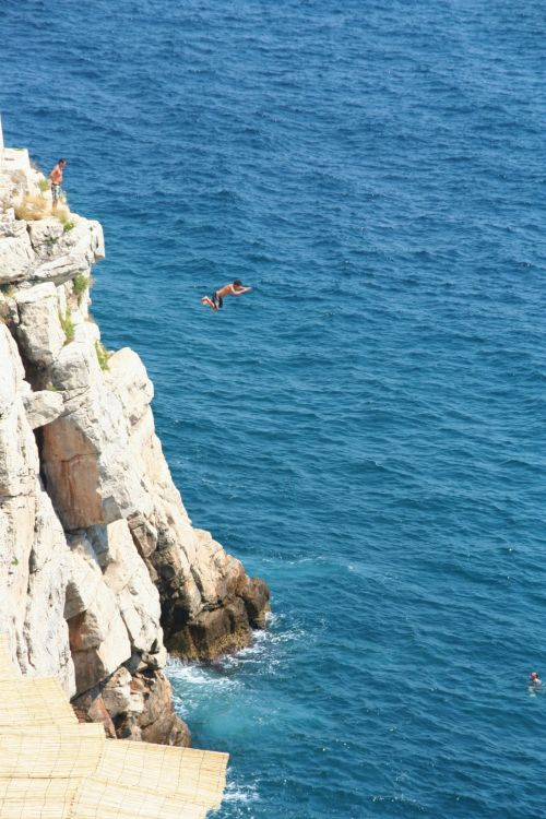 Jump Into The Water From A Rock