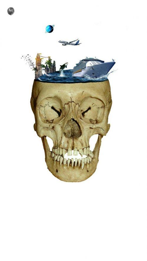 matte painting skull sea